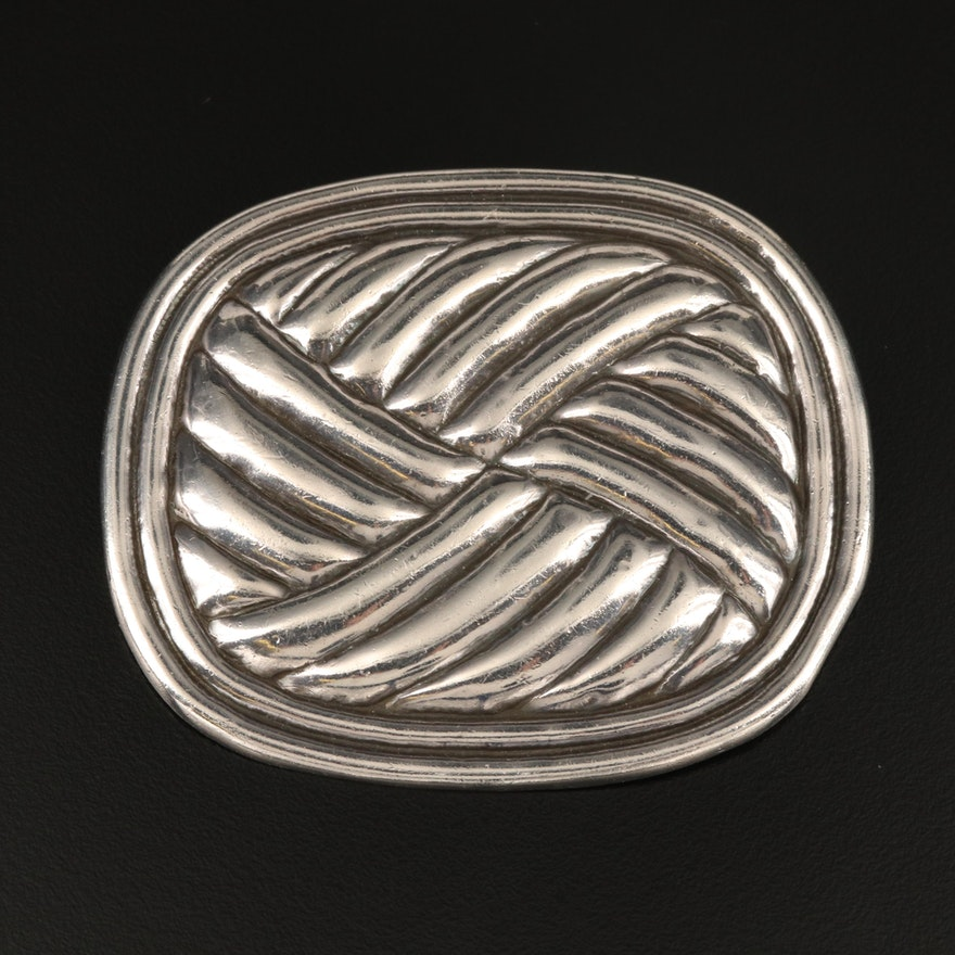 Early 1940s Mexican William Spratling Sterling Silver Brooch with Woven Pattern