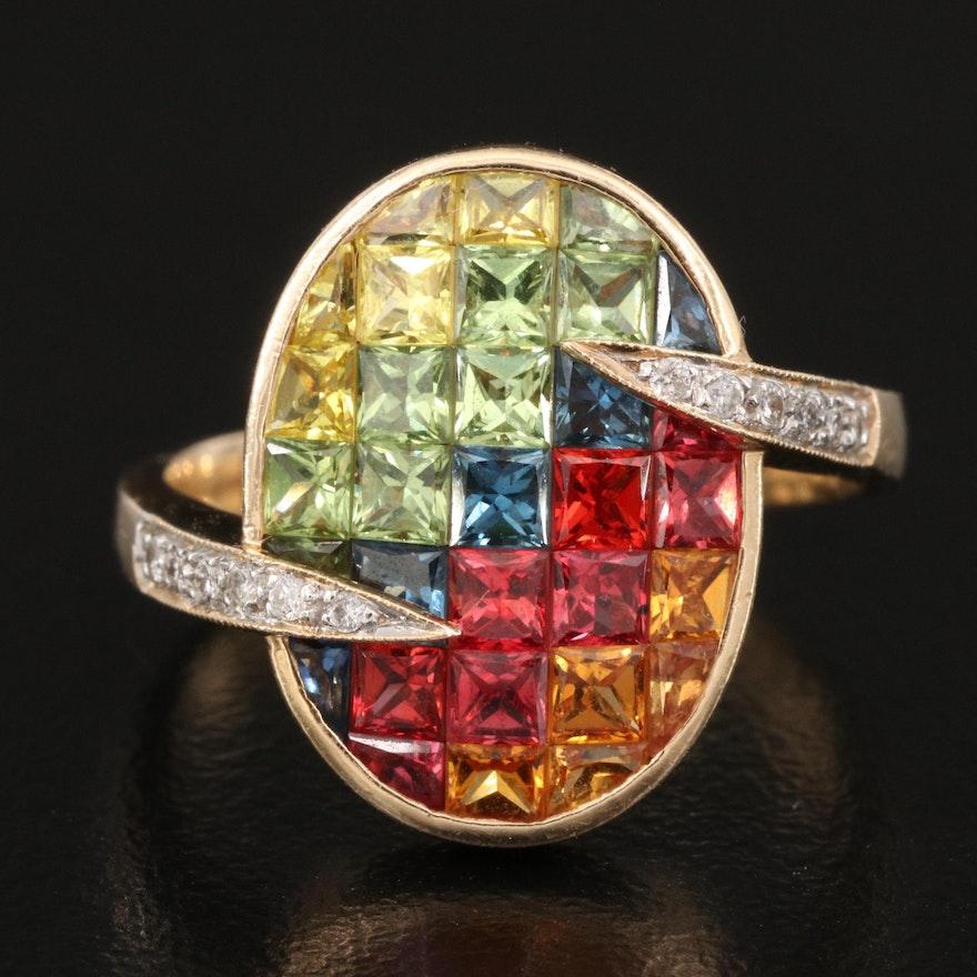 14K Sapphire, Ruby and Diamond Ring