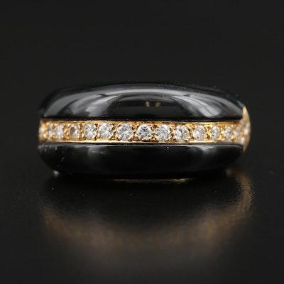 18K Black Onyx and Diamond Dome Ring