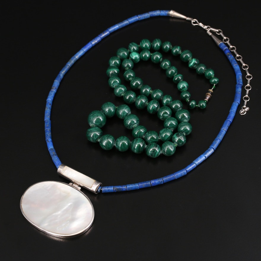 Sterling Lapis Lazuli, Mother of Pearl Necklace and Graduated Malachite Necklace