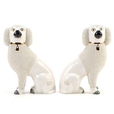 Pair of Department 56 Staffordshire Style Ceramic Poodles, Late 20th Century