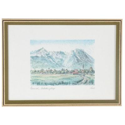 """Alpine Landscape Offset Lithograph """"Garmisch, Wettersteingebirge, Stadl"""""""