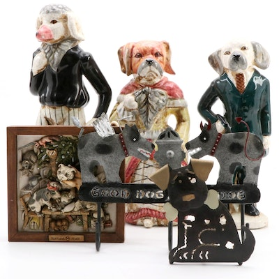Three Anthropomorphic Ceramic Dog Figurines and Other Dog Form Décor