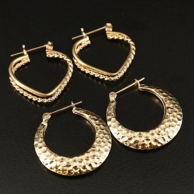 14K Twisted Crossover and Hammered Crescent Hoop Earrings