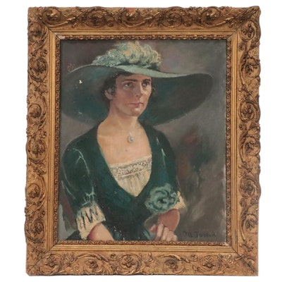 Victorian Style Oil Painting Portrait of a Woman, Mid-20th Century