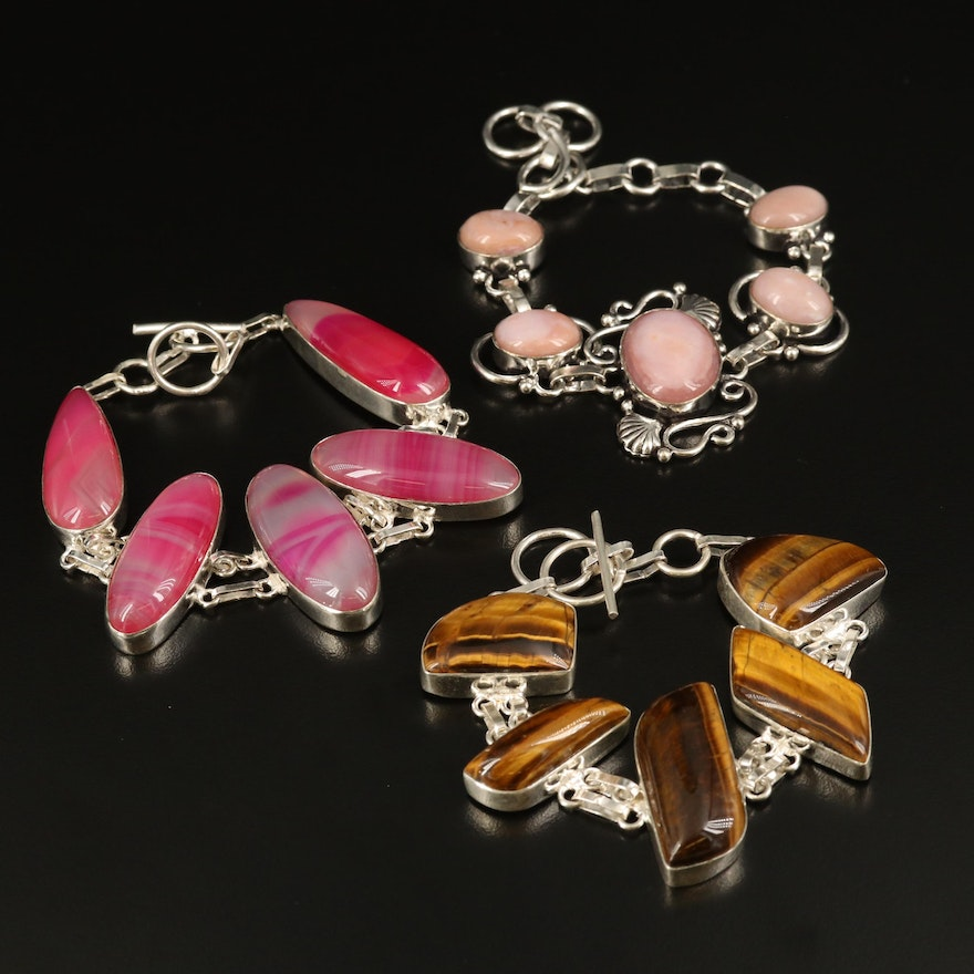 Sterling Bracelets with Bezel Set Common Opal, Agate and Tiger's Eye