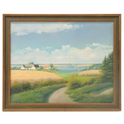 E. Birk Rural Landscape Oil Painting, 20th Century