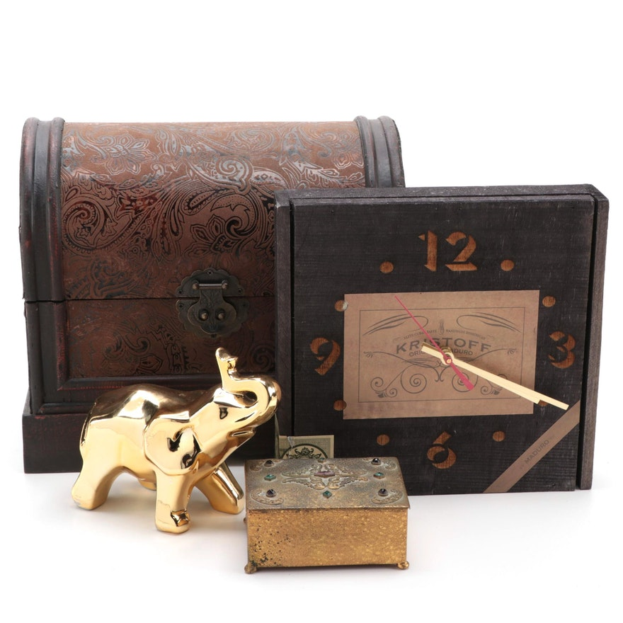 Wooden Chest, Rustic BoxClox, Ceramic Elephant and Embellished Metal Box