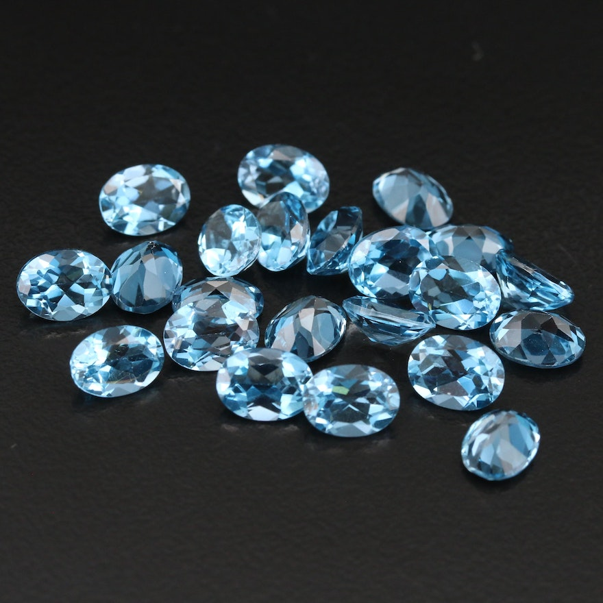 Loose 31.91 CTW Oval Faceted London Blue Topaz