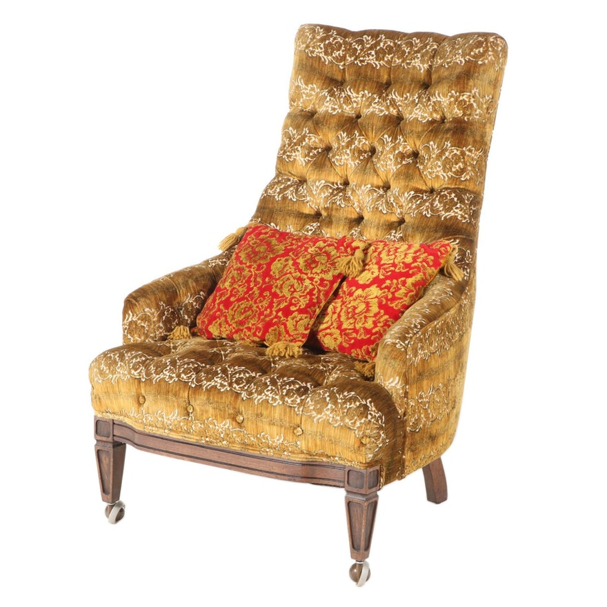 Button Tufted Upholstered Armchair, Mid to Late 20th Century