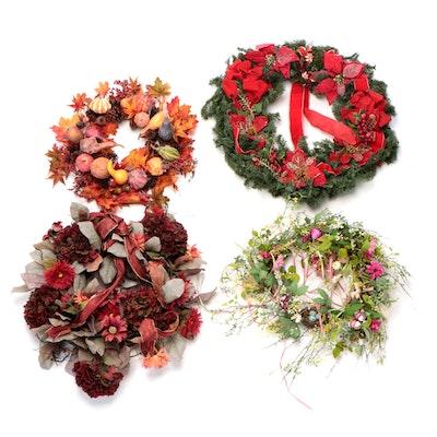 Four Seasonal Door Wreaths