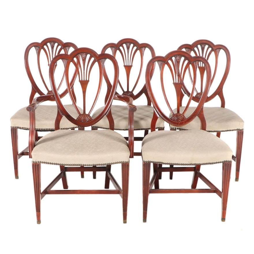 Hepplewhite Style Mahogany Upholstered Dining Chairs, Mid to Late 20th Century