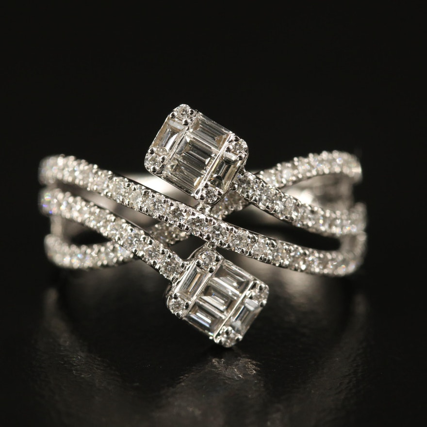 EFFY 14K 1.00 CTW Diamond Crossover Ring