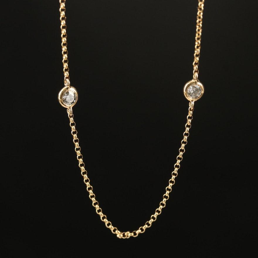 EFFY 14K Diamond Station Necklace