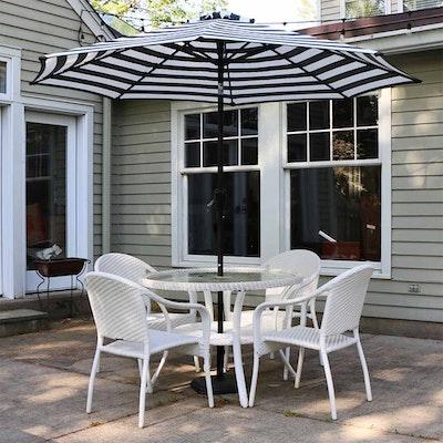 Frontgate Wicker Patio Dining Set with Retractable Umbrella