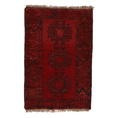 2'1 x 3'4 Hand-Knotted Afghan Turkmen Rug, 1950s