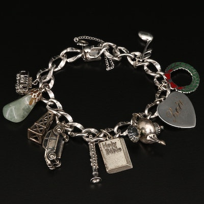 Sterling Charm Bracelet with Aventurine and Enamel Accents