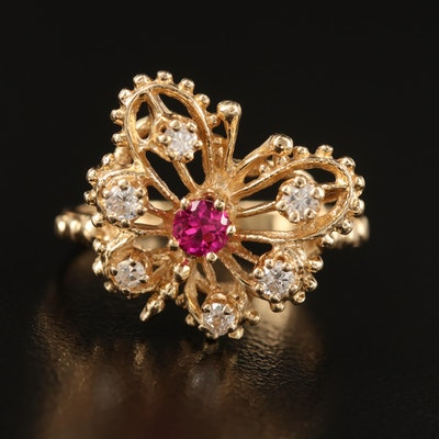 14K Ruby and Diamond Butterfly Openwork Ring