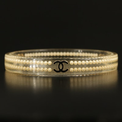 Chanel Faux Pearl and Resin Bangle