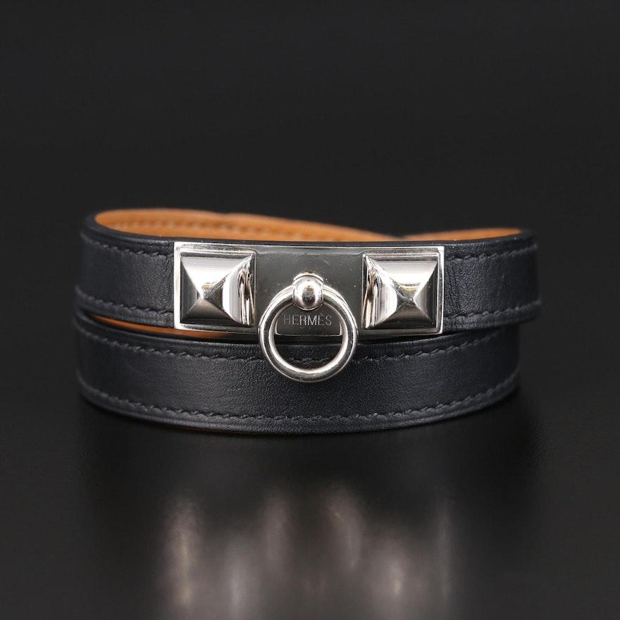 """Hermès """"Rivale"""" Double Tour Leather Bracelet"""