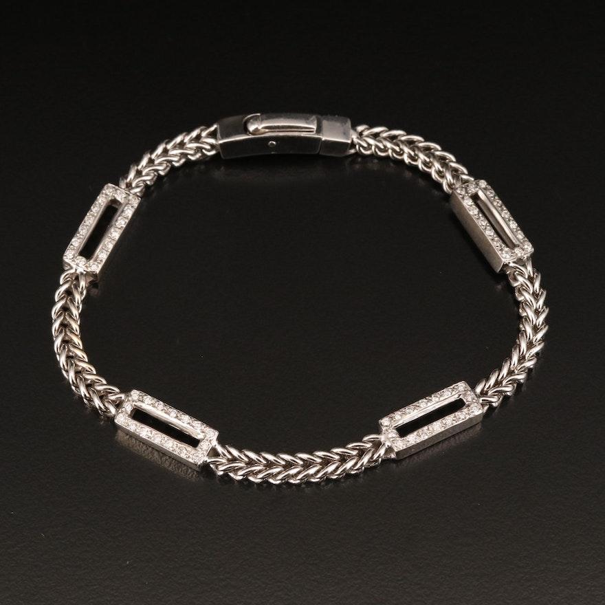 14K Diamond Fancy Link Station Bracelet