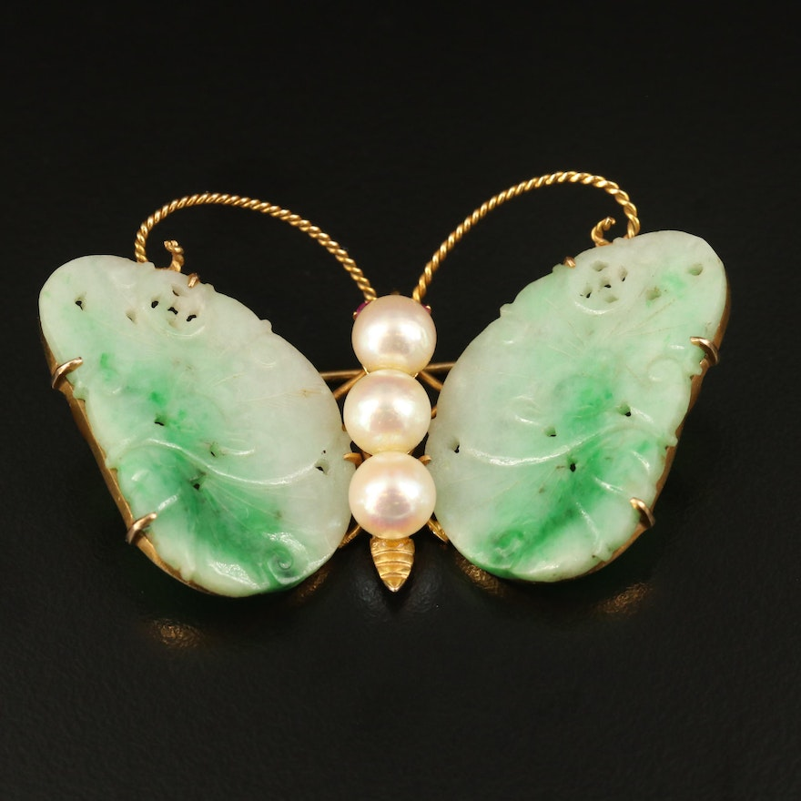Vintage Chinese 14K Jadeite, Pearl and Ruby Butterfly Brooch