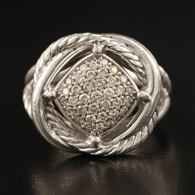 David Yurman Sterling Pavé Diamond Infinity Ring with Pouch