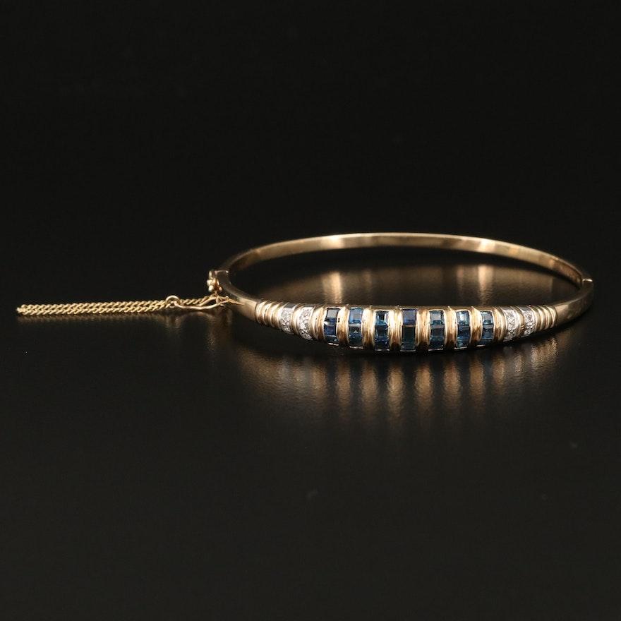 14K Sapphire and Diamond Hinged Bangle