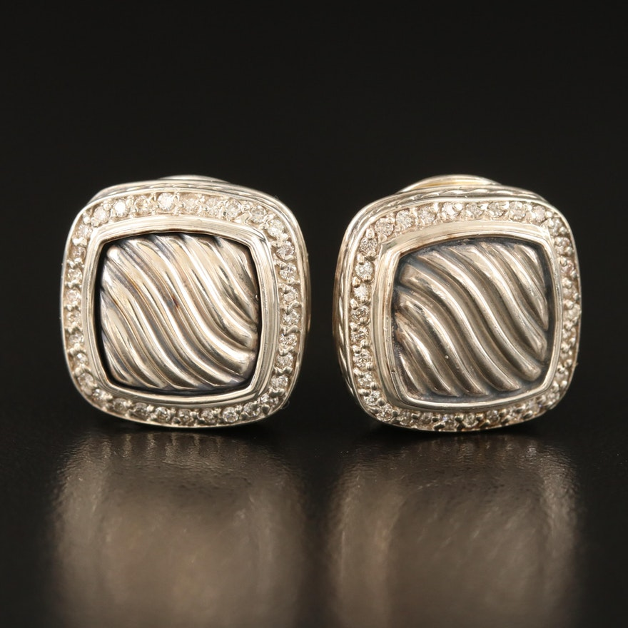"""David Yurman """"Albion"""" Sterling Diamond Earrings with 18K Accents and Pouch"""