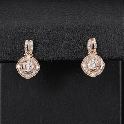 10K Rose Gold Diamond Earrings with Milgrain Detail