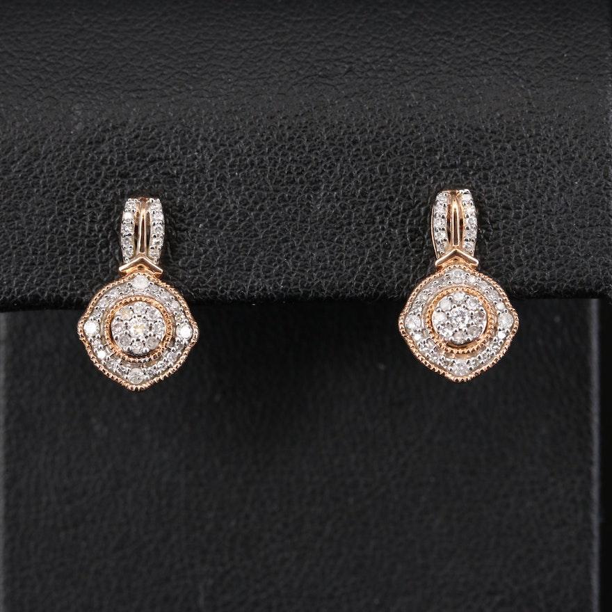10K Rose Gold Diamond Earrings with Milgrain Detail
