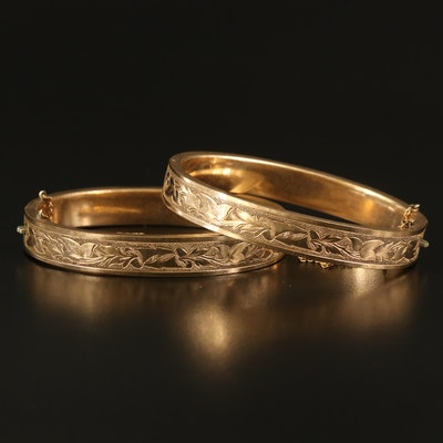 Mid-Victorian Bates and Bacon Engraved Floral Bands