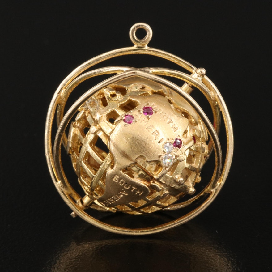 Vintage 14K Diamond and Ruby Spinning Globe Pendant