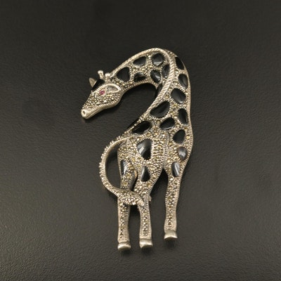 Sterling Giraffe Brooch with Black Onyx, Ruby and Marcasite