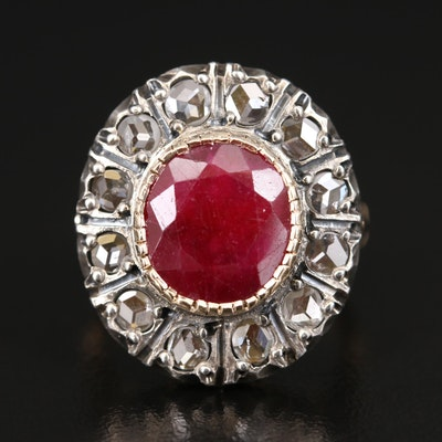 18K Corundum Ring with Sterling Silver Diamond Halo Top