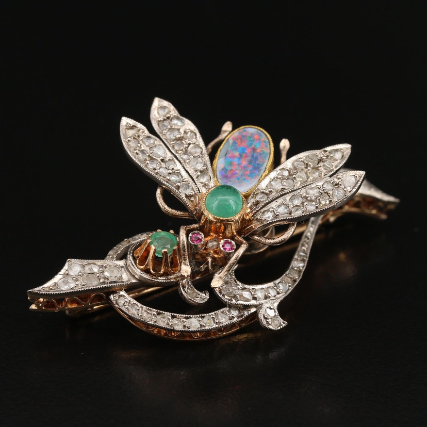 En Tremblant 14K Opal Triplet, Diamond and Gemstone Insect Brooch