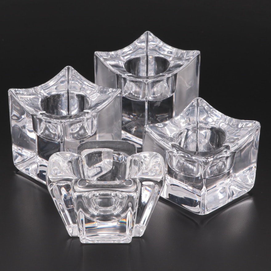 """Orrefors """"Max"""" and """"Polaris"""" Crystal Votive Candle Holders"""