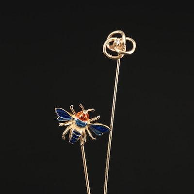 14K Diamond Knot Stick Pin and 14K Enamel Insect Stick Pin