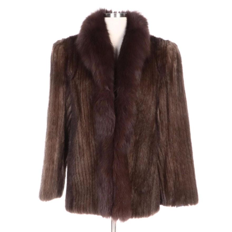 Corded Mink Fur Jacket with Fox Fur Trim from Richard-Donald Furs