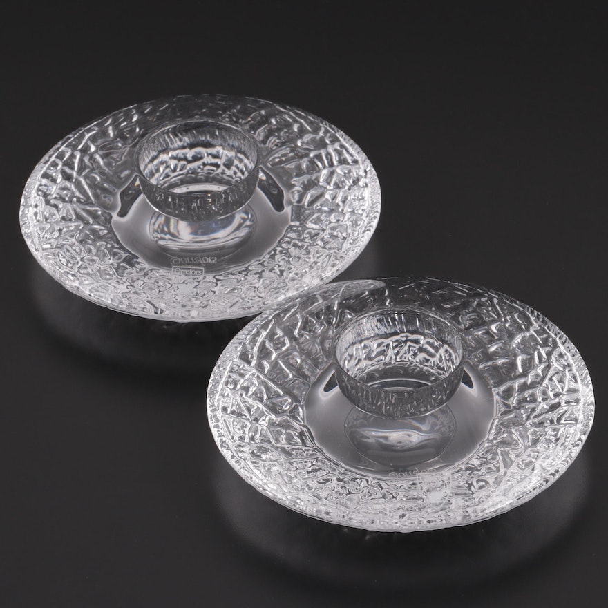 """Orrefors """"Discus"""" Crystal Votive Candle Holders, Late 20th Century"""