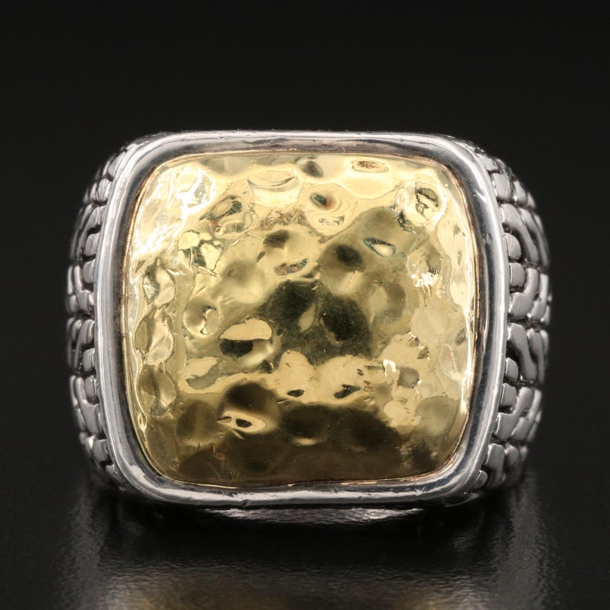 John Hardy 22K Gold and Sterling Silver Ring with Hammered Finish