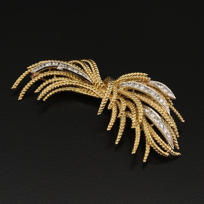 18K Diamond Spray Brooch