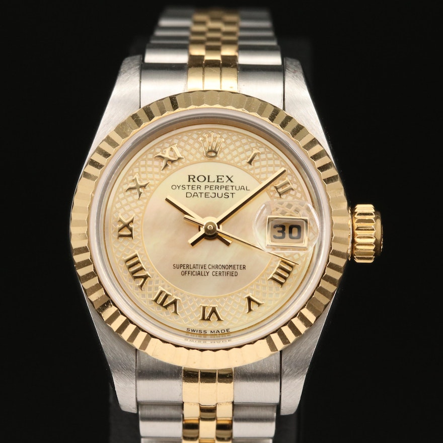 """2002 Rolex """"Datejust"""" 18K and Stainless Steel Wristwatch with Champagne Dial"""