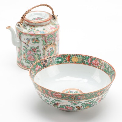 Chinese Export Rose Medallion Teapot and Rose Canton Bowl, Mid-Late 19th Century