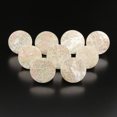 Mosaic Mother of Pearl Rings with Sterling Silver