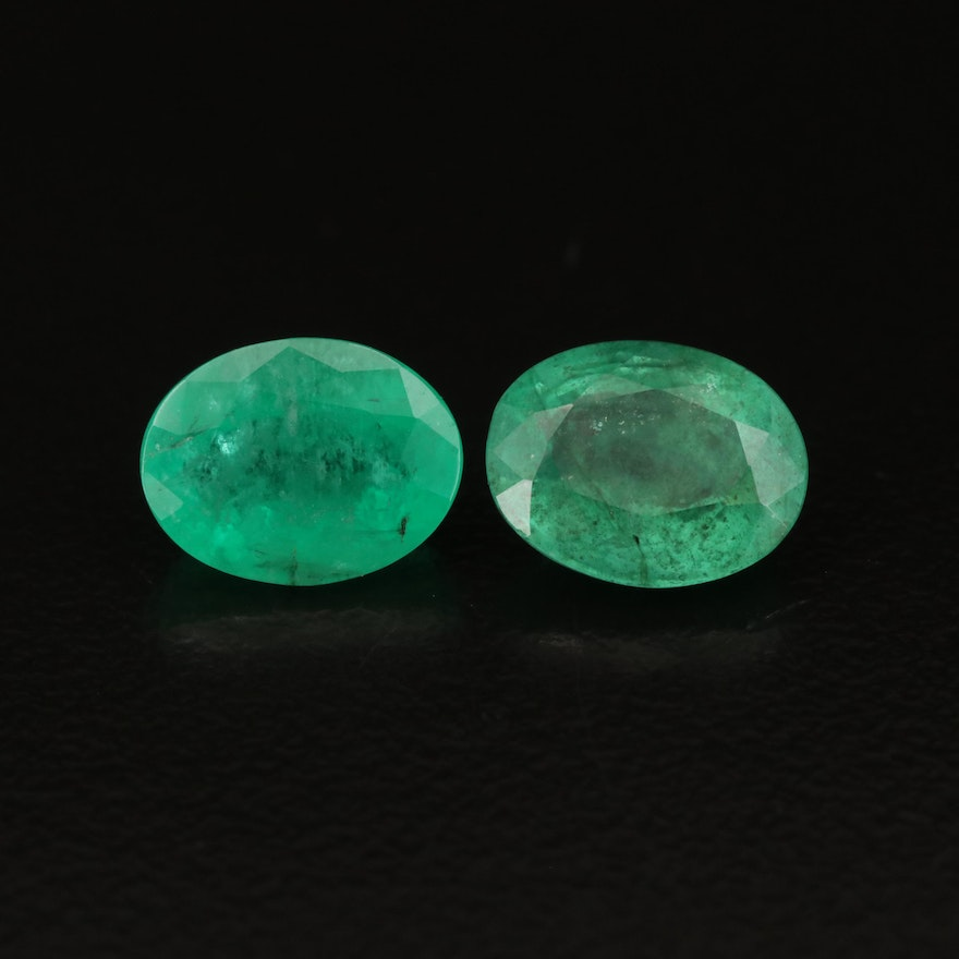 Loose 3.47 CTW Oval Faceted Emeralds