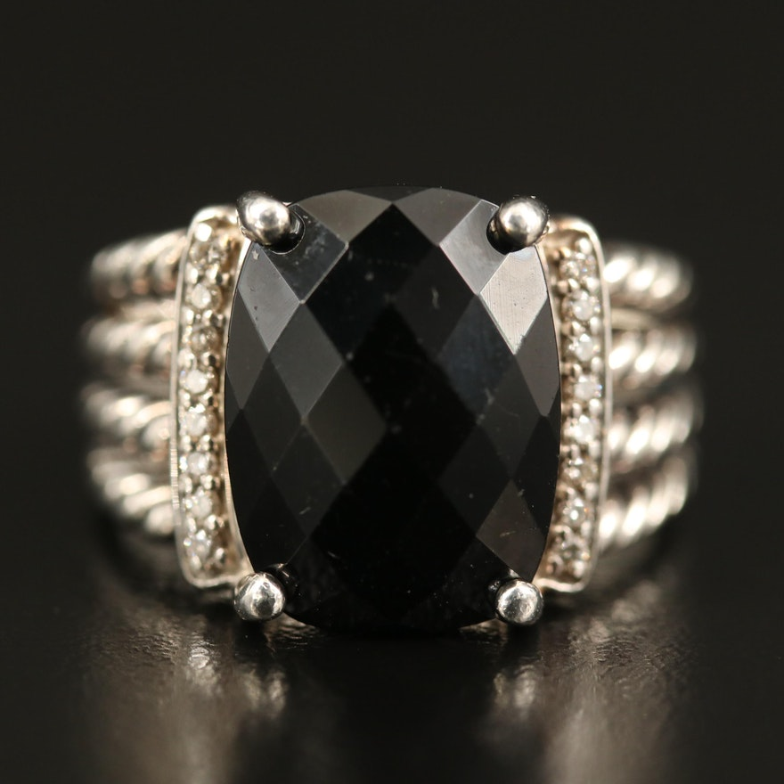 "David Yurman ""Wheaton"" Sterling Black Onyx and Diamond Ring"