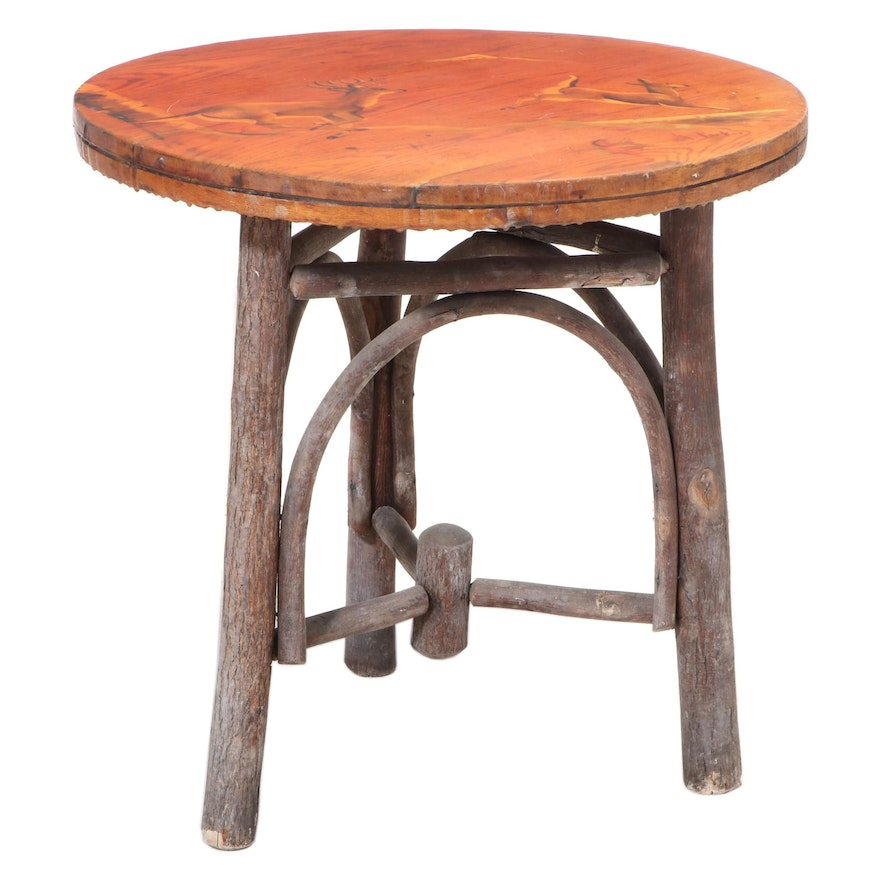 Adirondack Style Twig and Paint-Decorated Oak Side Table, 20th Century