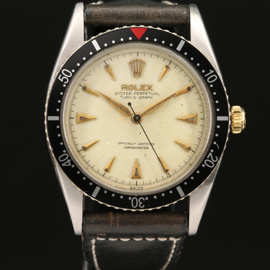 1953 Rolex Turn-O-Graph 6202 Honeycomb Dial Stainless Steel Wristwatch