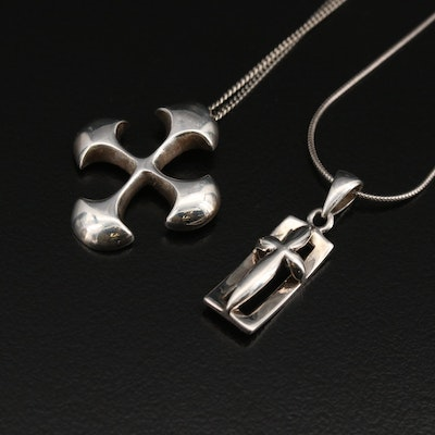 Sterling Stylized Cross Necklaces Featuring J.H. Breakell & Co.